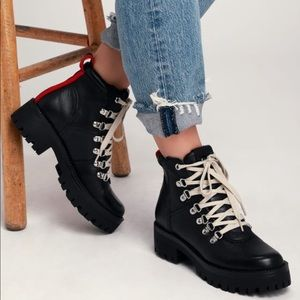 Bam Black Leather Lace-Up Combat Ankle Boots